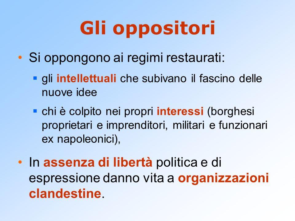 Gli oppositori Si oppongono ai regimi restaurati: