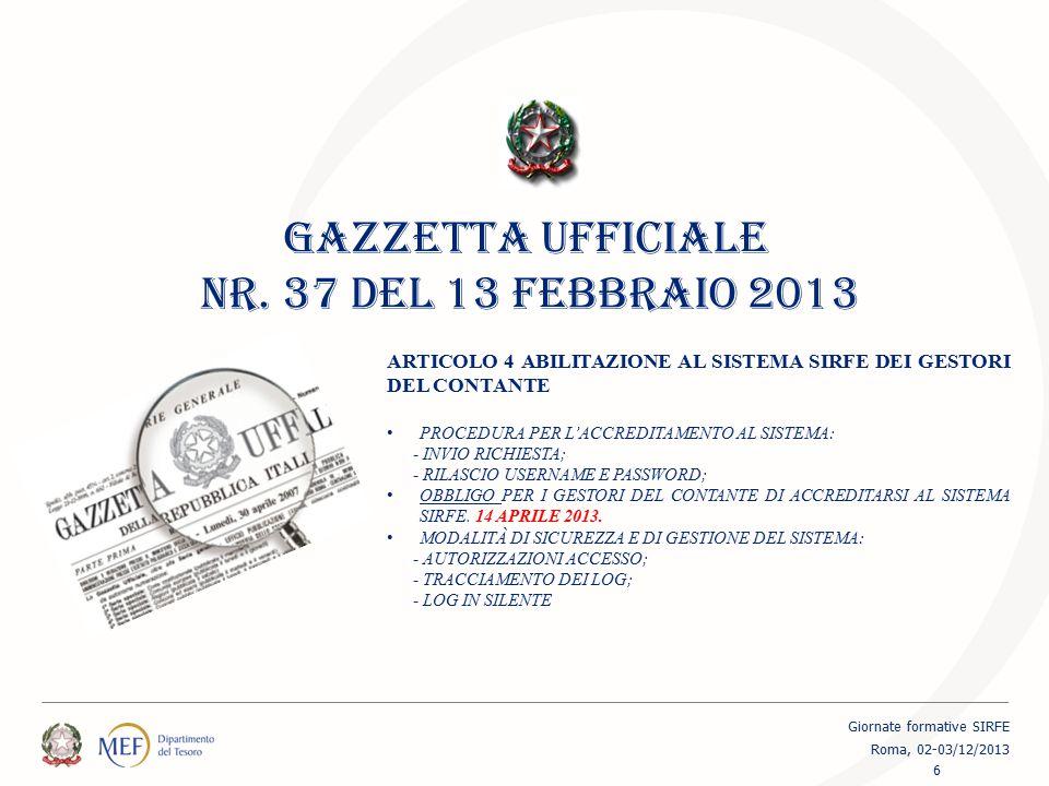 GAZZETTA UFFICIALE NR. 37 DEL 13 FEBBRAIO 2013