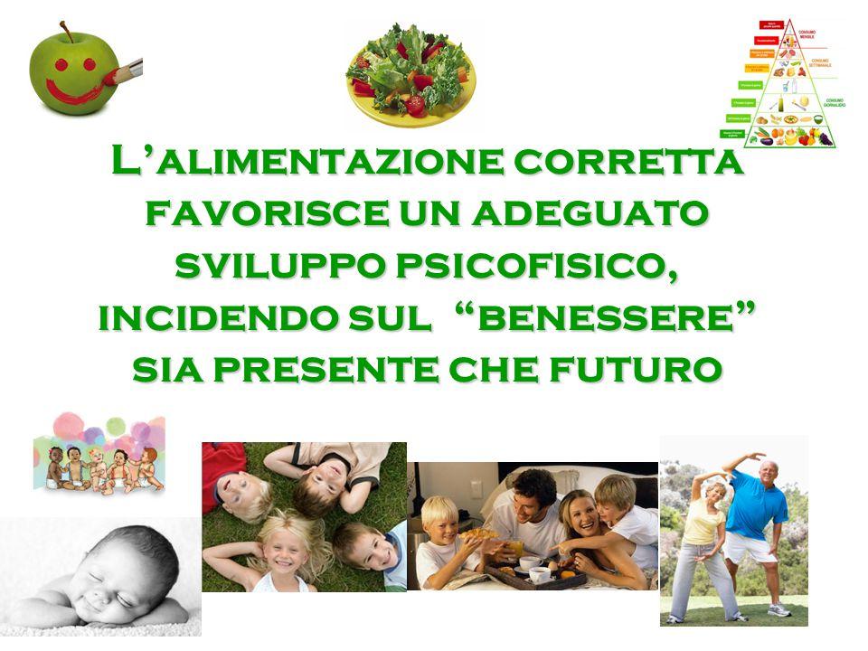 L'alimentazione corretta favorisce un adeguato sviluppo psicofisico, incidendo sul benessere sia presente che futuro