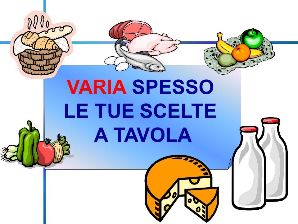 VARIA SPESSO LE TUE SCELTE A TAVOLA