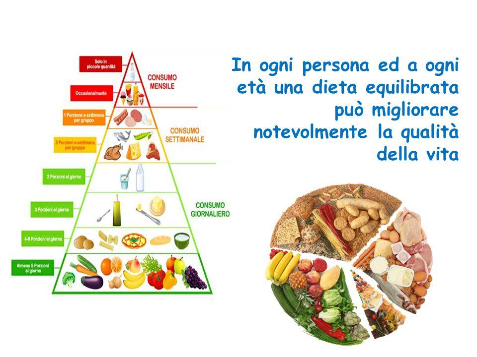 In ogni persona ed a ogni età una dieta equilibrata può migliorare notevolmente la qualità della vita