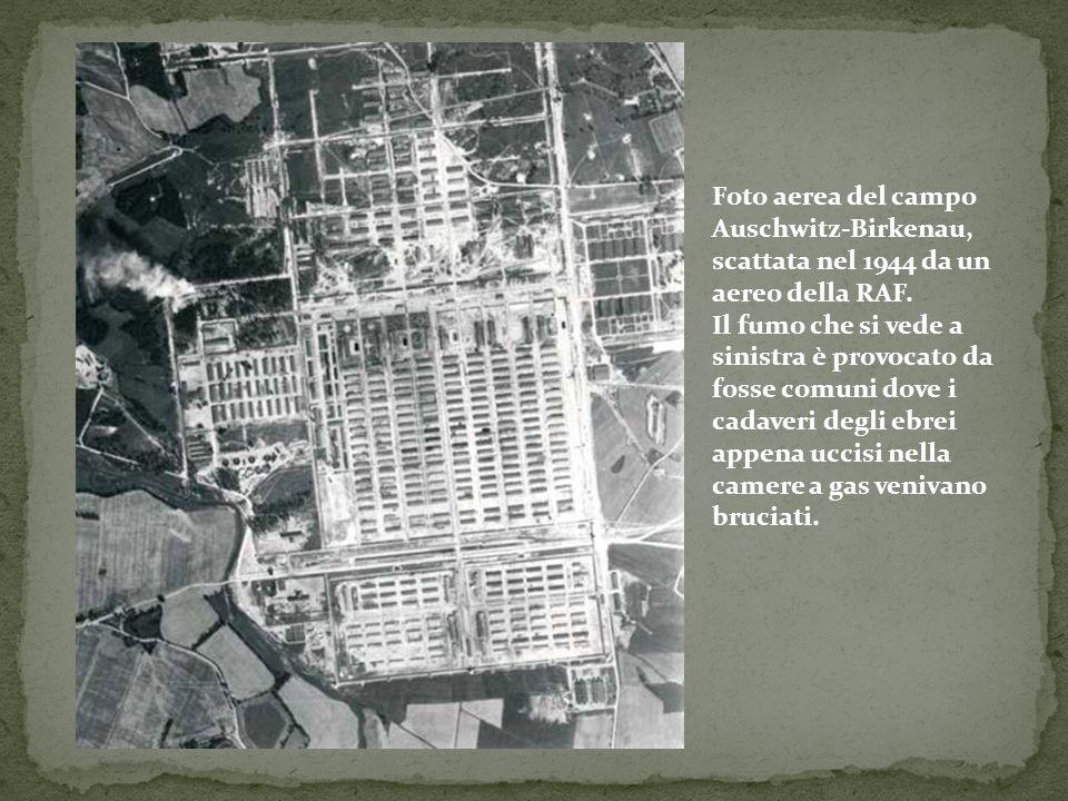 Foto aerea del campo Auschwitz-Birkenau, scattata nel 1944 da un aereo della RAF.