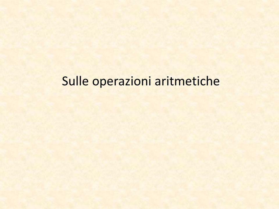 Sulle operazioni aritmetiche