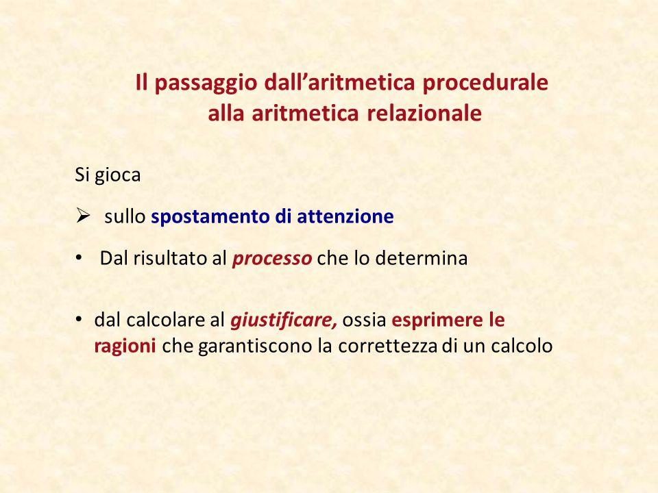 Il passaggio dall'aritmetica procedurale alla aritmetica relazionale