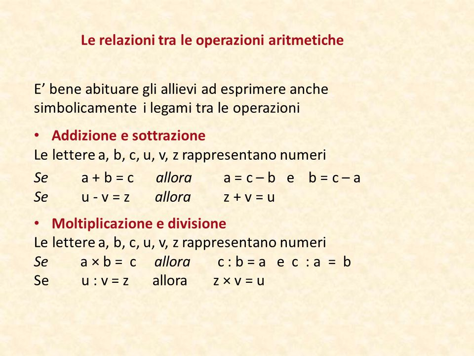 Le relazioni tra le operazioni aritmetiche
