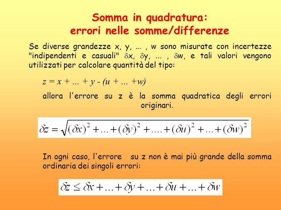 Somma in quadratura: errori nelle somme/differenze