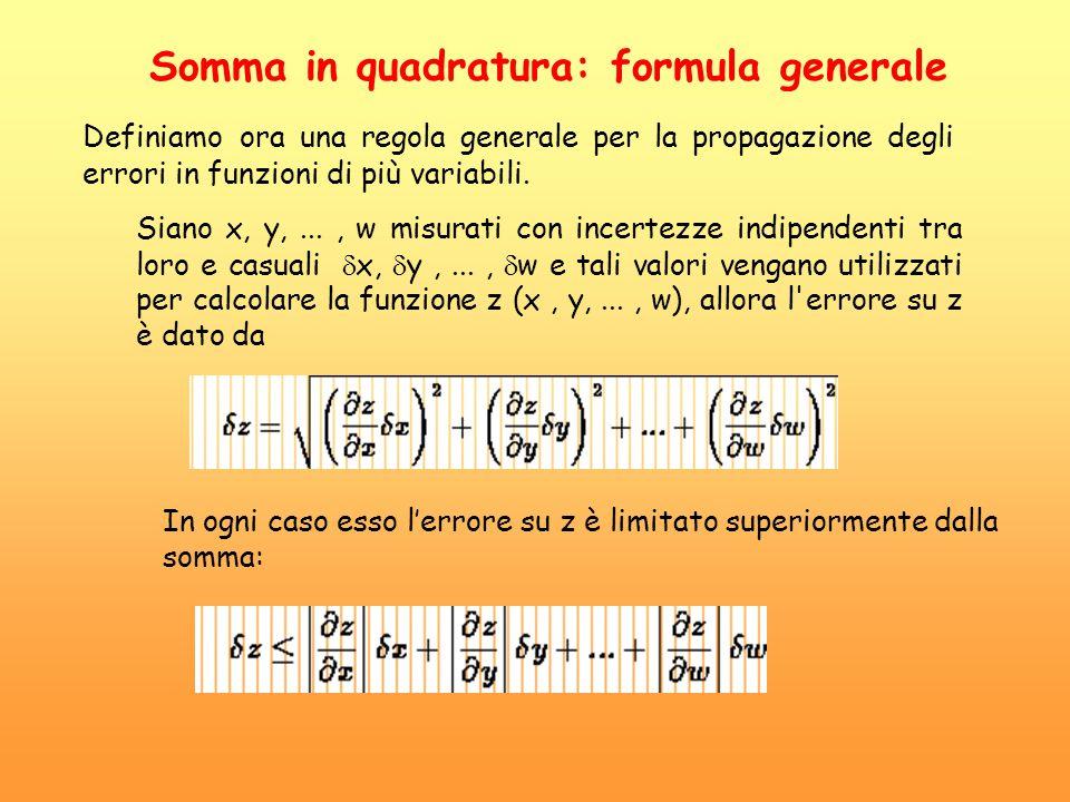 Somma in quadratura: formula generale