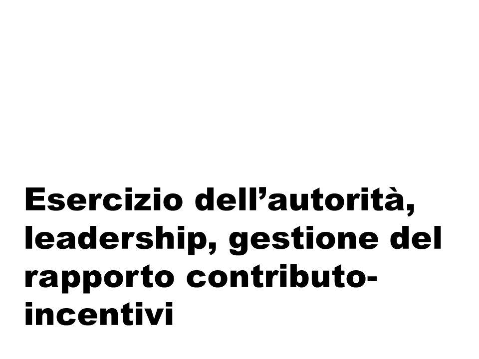 Esercizio dell'autorità, leadership, gestione del rapporto contributo-incentivi