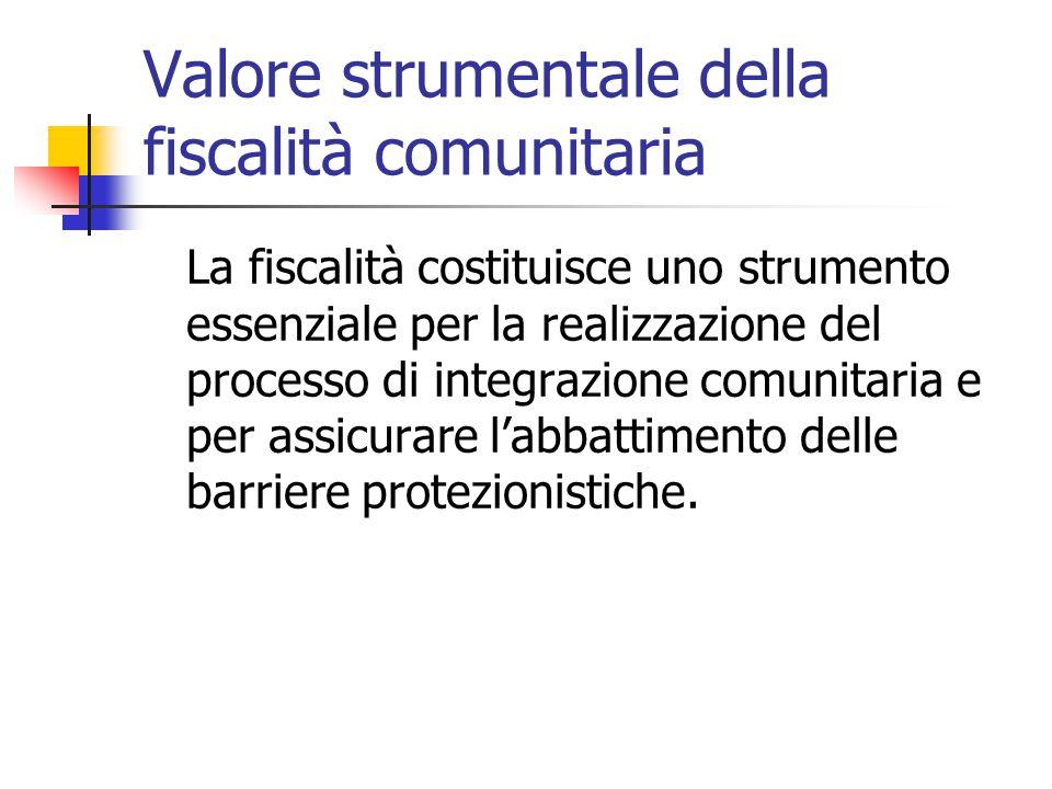 Valore strumentale della fiscalità comunitaria