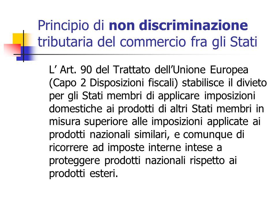 Principio di non discriminazione tributaria del commercio fra gli Stati