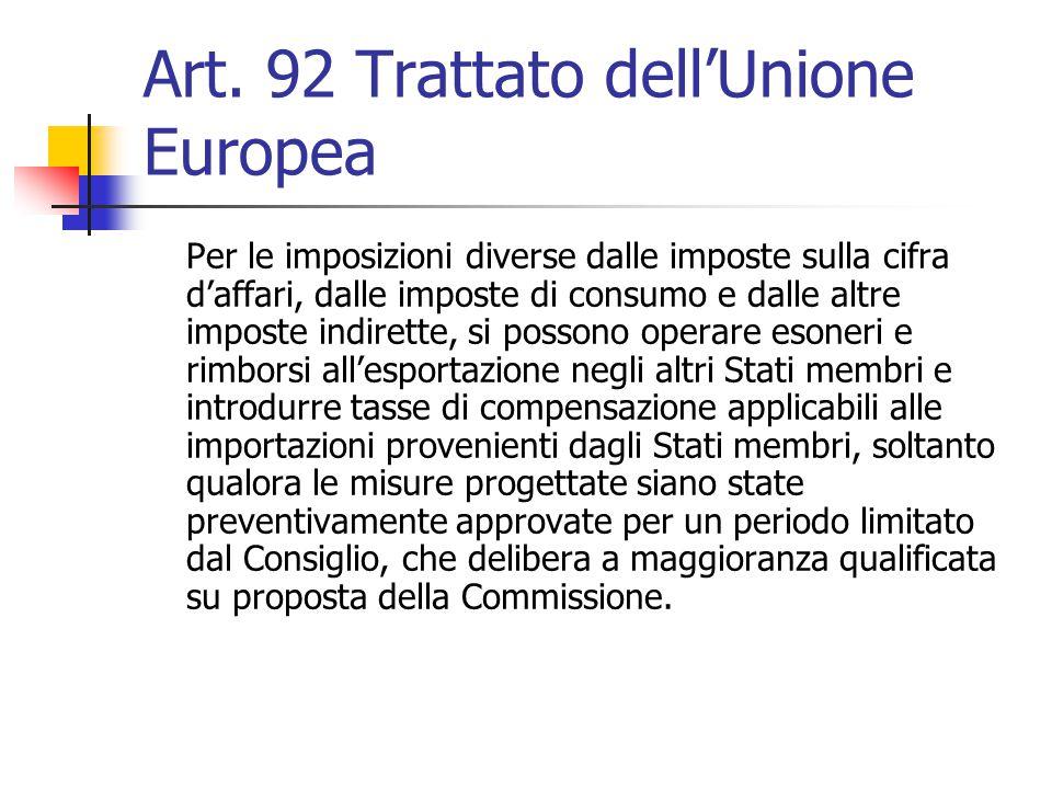 Art. 92 Trattato dell'Unione Europea