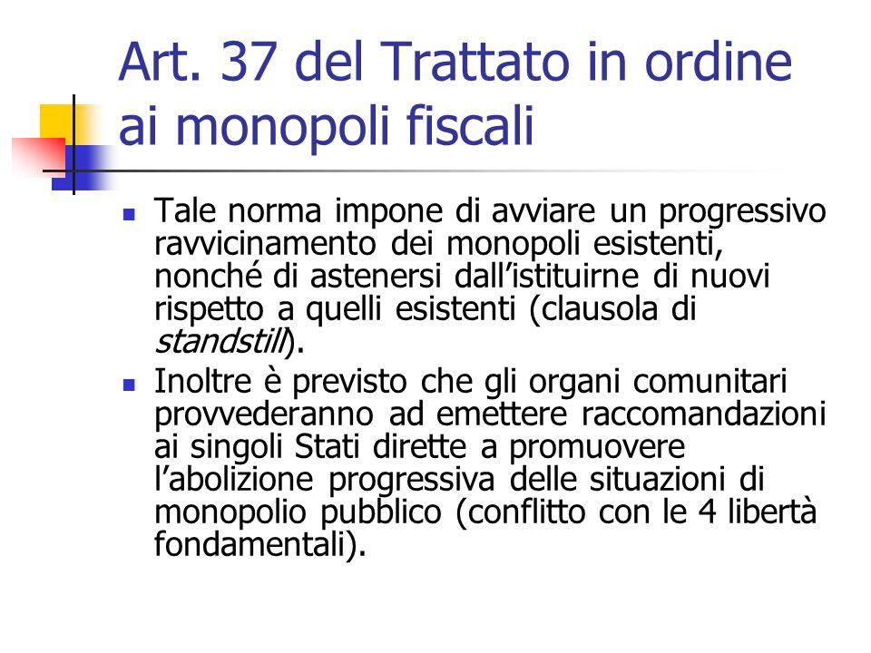 Art. 37 del Trattato in ordine ai monopoli fiscali