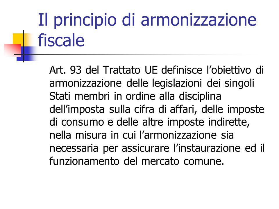 Il principio di armonizzazione fiscale