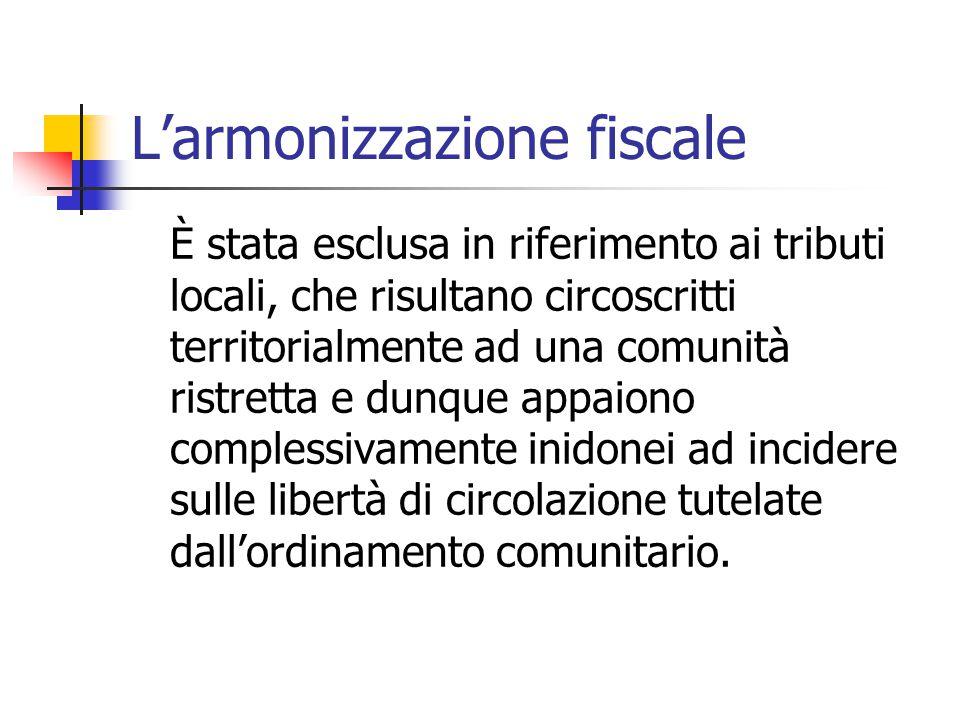 L'armonizzazione fiscale