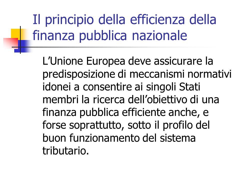 Il principio della efficienza della finanza pubblica nazionale