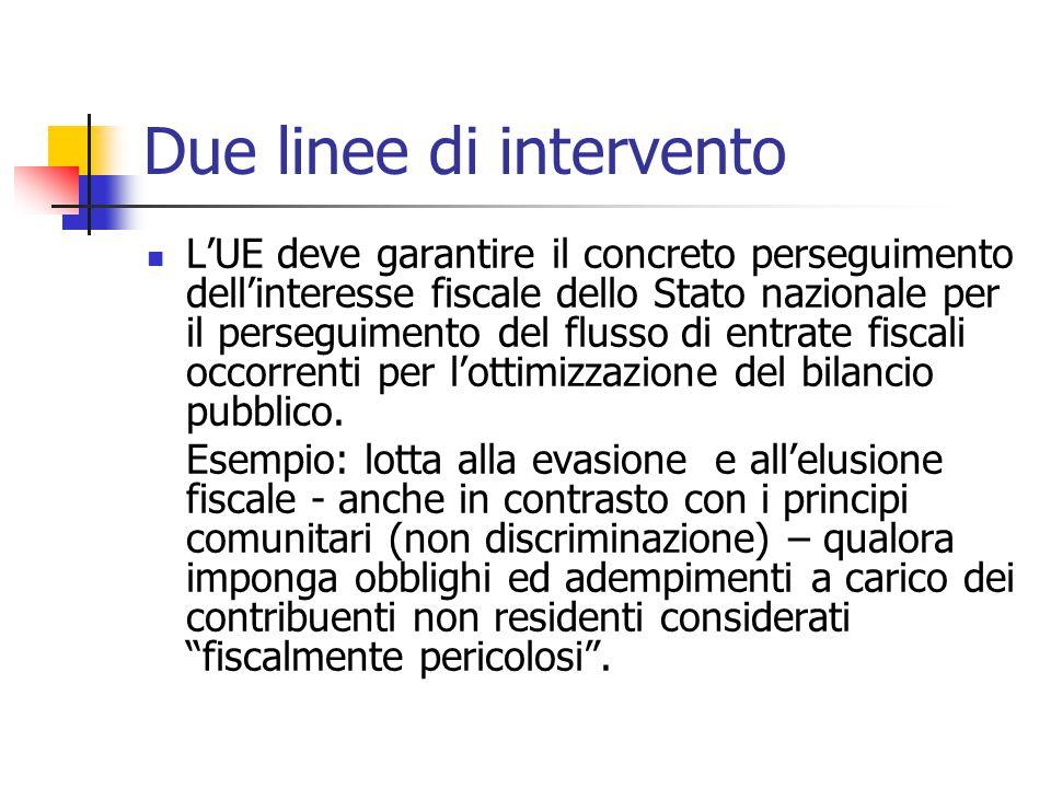 Due linee di intervento