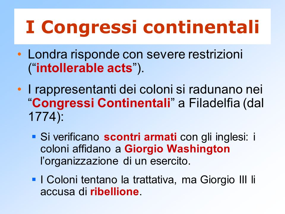 I Congressi continentali