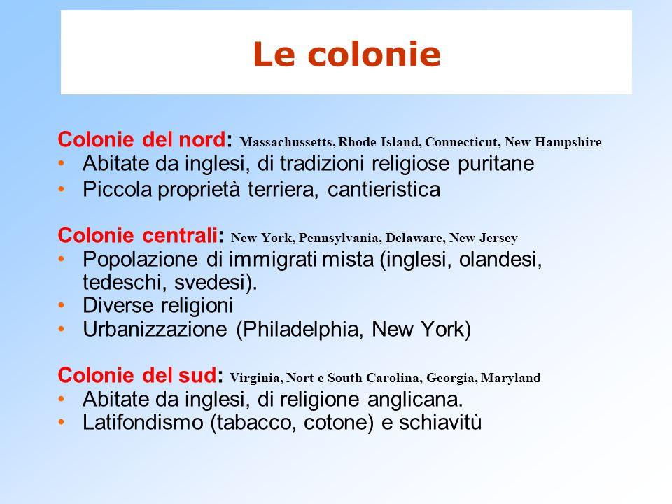 Le colonie Colonie del nord: Massachussetts, Rhode Island, Connecticut, New Hampshire. Abitate da inglesi, di tradizioni religiose puritane.