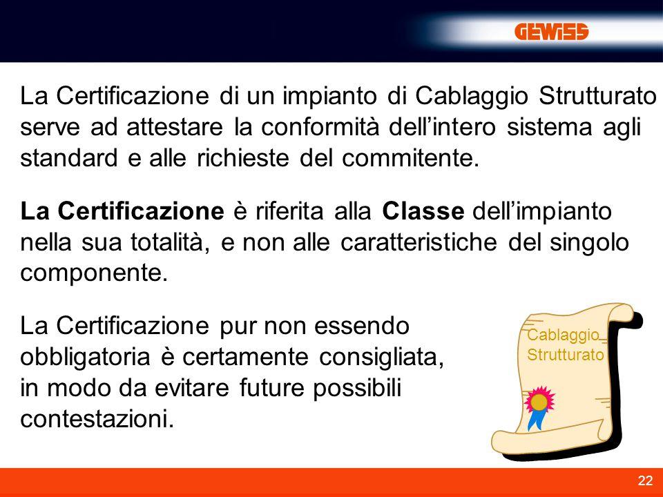 La Certificazione di un impianto di Cablaggio Strutturato