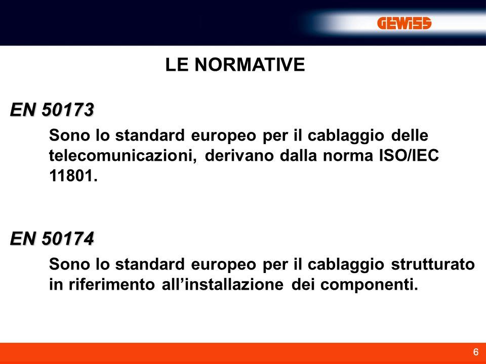 LE NORMATIVE EN 50173. Sono lo standard europeo per il cablaggio delle telecomunicazioni, derivano dalla norma ISO/IEC 11801.