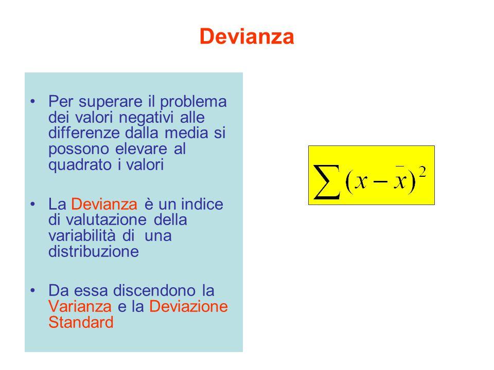 Devianza Per superare il problema dei valori negativi alle differenze dalla media si possono elevare al quadrato i valori.