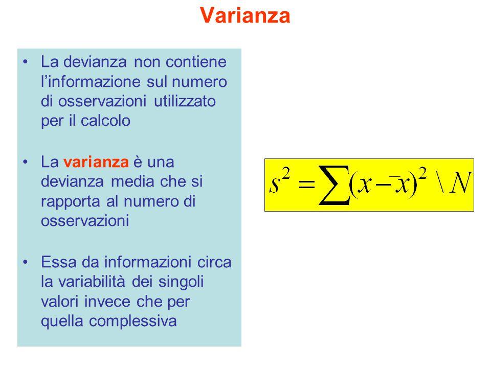 Varianza La devianza non contiene l'informazione sul numero di osservazioni utilizzato per il calcolo.