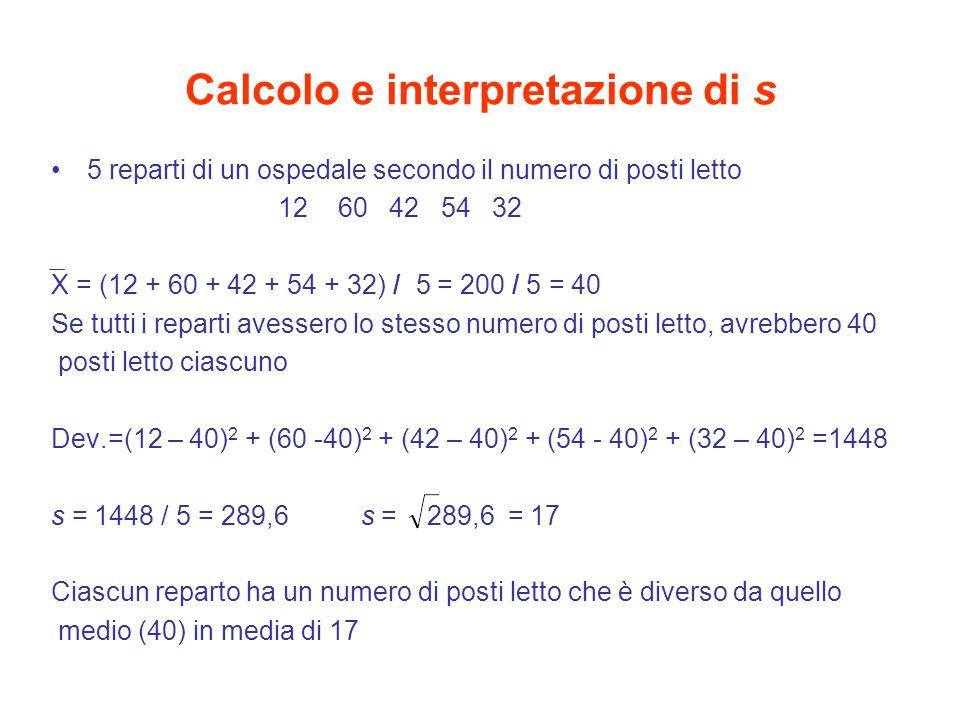 Calcolo e interpretazione di s