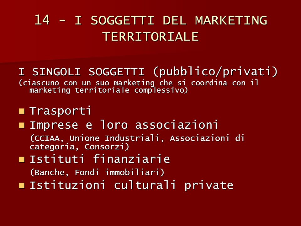 14 - I SOGGETTI DEL MARKETING TERRITORIALE