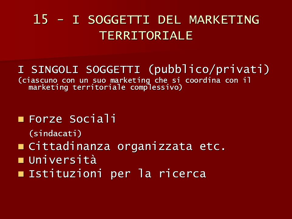 15 - I SOGGETTI DEL MARKETING TERRITORIALE