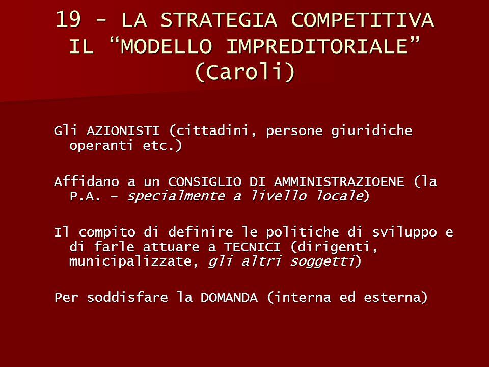 19 - LA STRATEGIA COMPETITIVA IL MODELLO IMPREDITORIALE (Caroli)