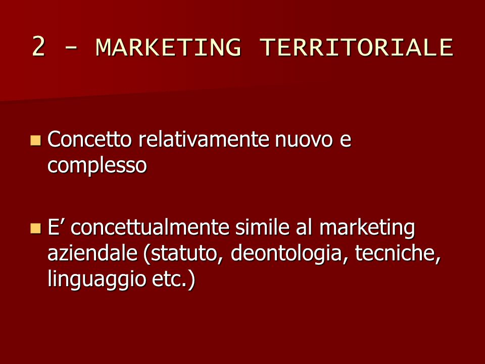 2 - MARKETING TERRITORIALE