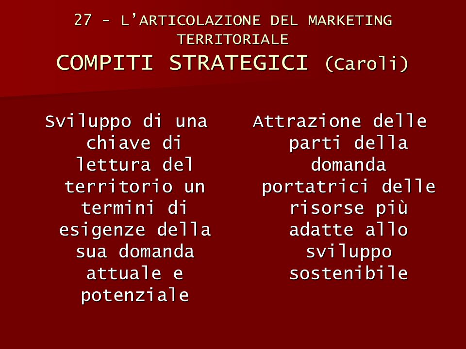27 - L'ARTICOLAZIONE DEL MARKETING TERRITORIALE COMPITI STRATEGICI (Caroli)