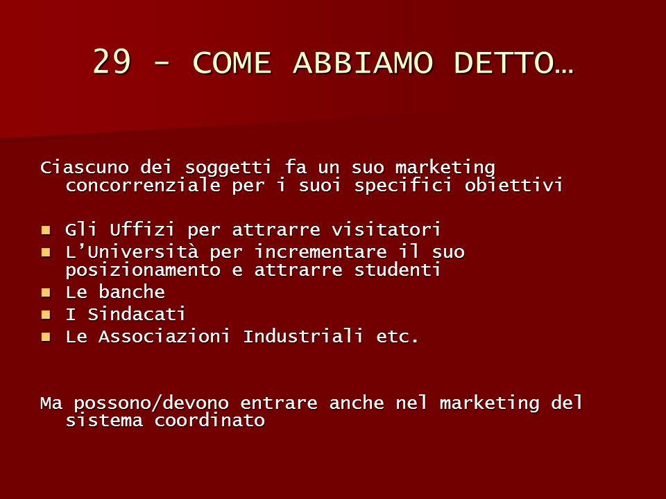29 - COME ABBIAMO DETTO… Ciascuno dei soggetti fa un suo marketing concorrenziale per i suoi specifici obiettivi.