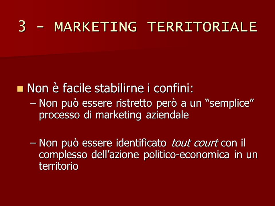 3 - MARKETING TERRITORIALE
