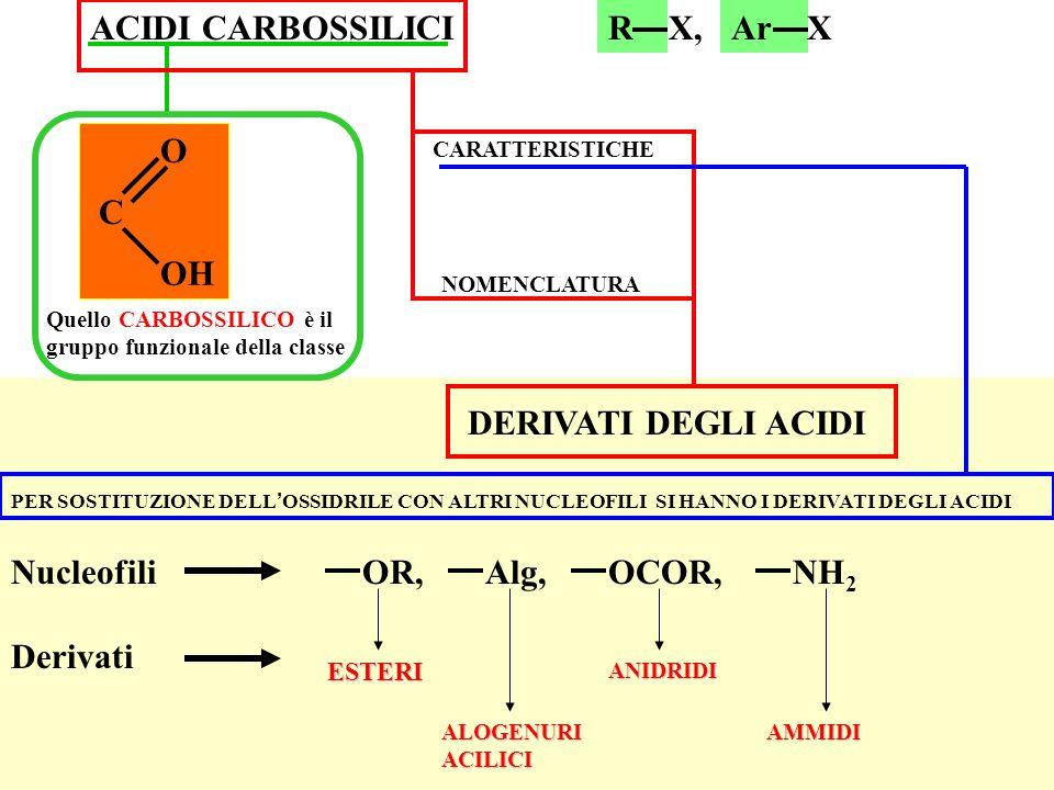 ACIDI CARBOSSILICI R X, Ar X C O OH DERIVATI DEGLI ACIDI Nucleofili