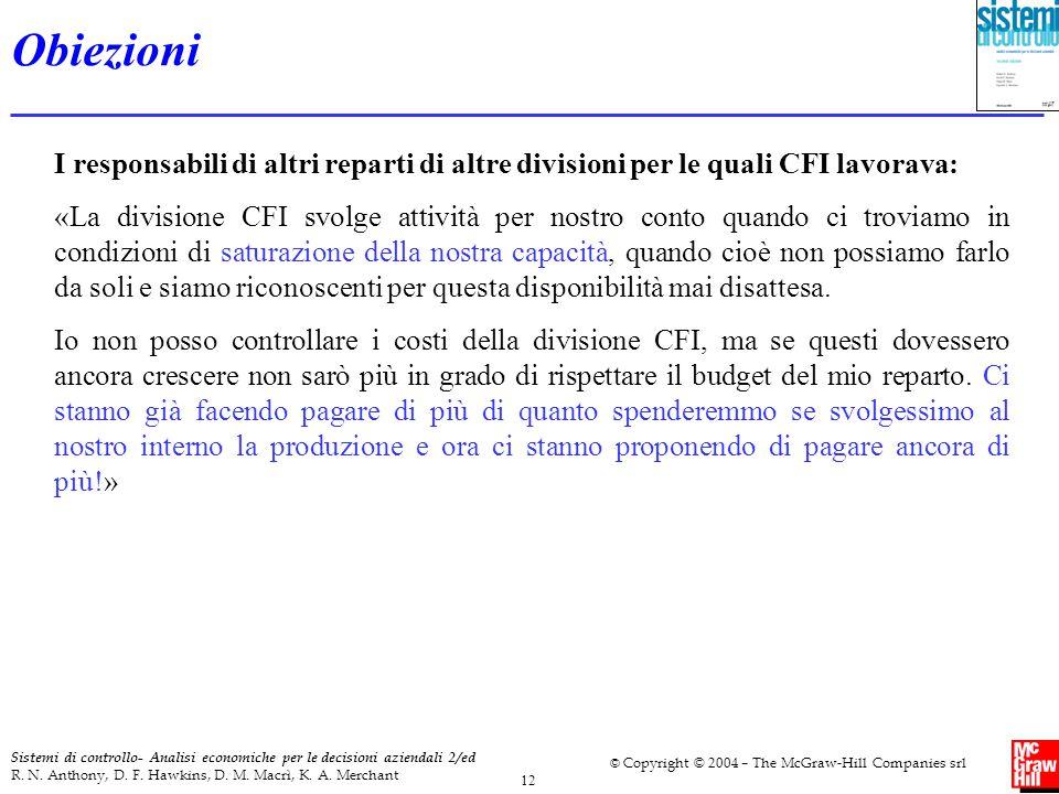 Obiezioni I responsabili di altri reparti di altre divisioni per le quali CFI lavorava: