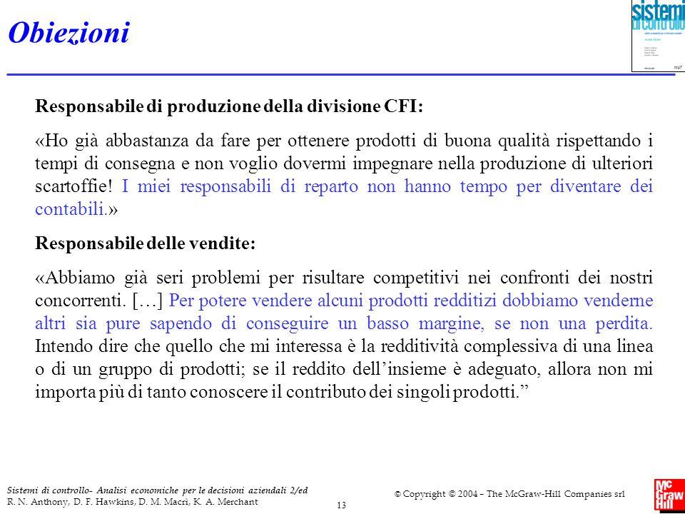 Obiezioni Responsabile di produzione della divisione CFI: