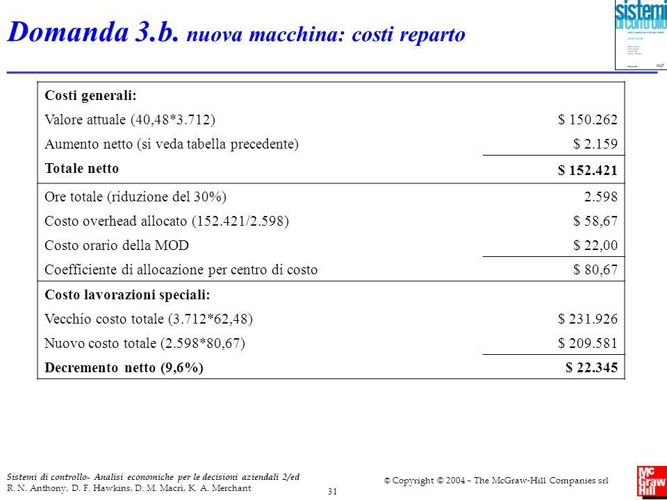 Domanda 3.b. nuova macchina: costi reparto