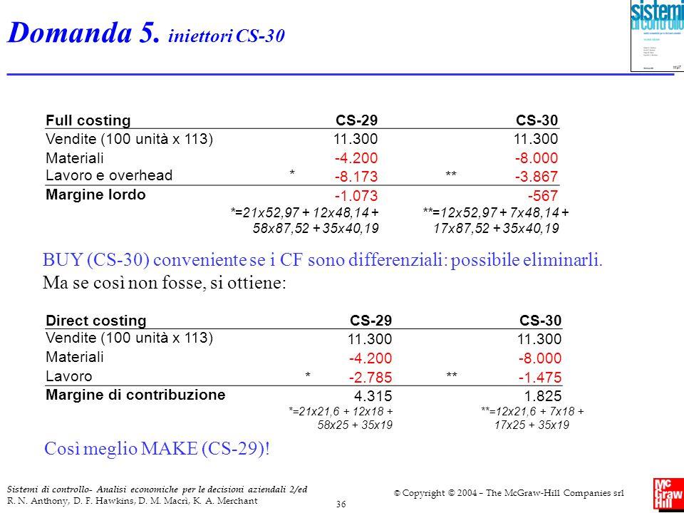 Domanda 5. iniettori CS-30 Full costing. CS-29. CS-30. Vendite (100 unità x 113) 11.300. Materiali.