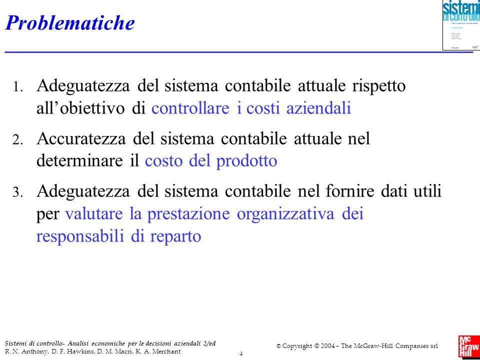 Problematiche Adeguatezza del sistema contabile attuale rispetto all'obiettivo di controllare i costi aziendali.