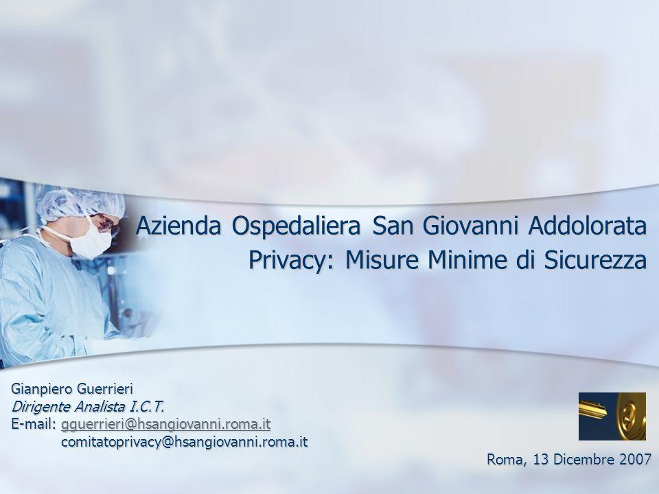Azienda Ospedaliera San Giovanni Addolorata Privacy: Misure Minime di Sicurezza