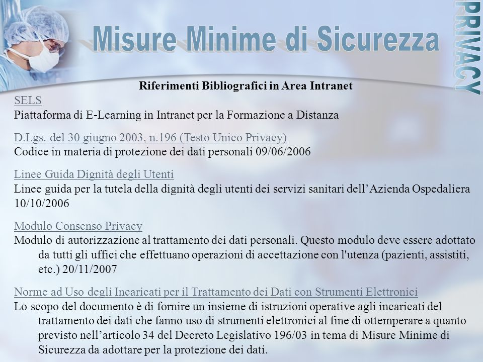 Riferimenti Bibliografici in Area Intranet