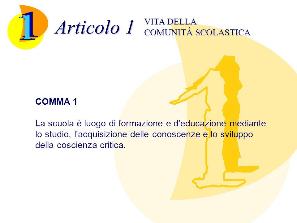 Articolo 1 1 VITA DELLA COMUNITÁ SCOLASTICA COMMA 1