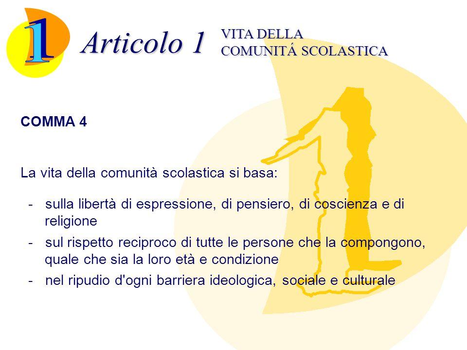 Articolo 1 1 VITA DELLA COMUNITÁ SCOLASTICA COMMA 4
