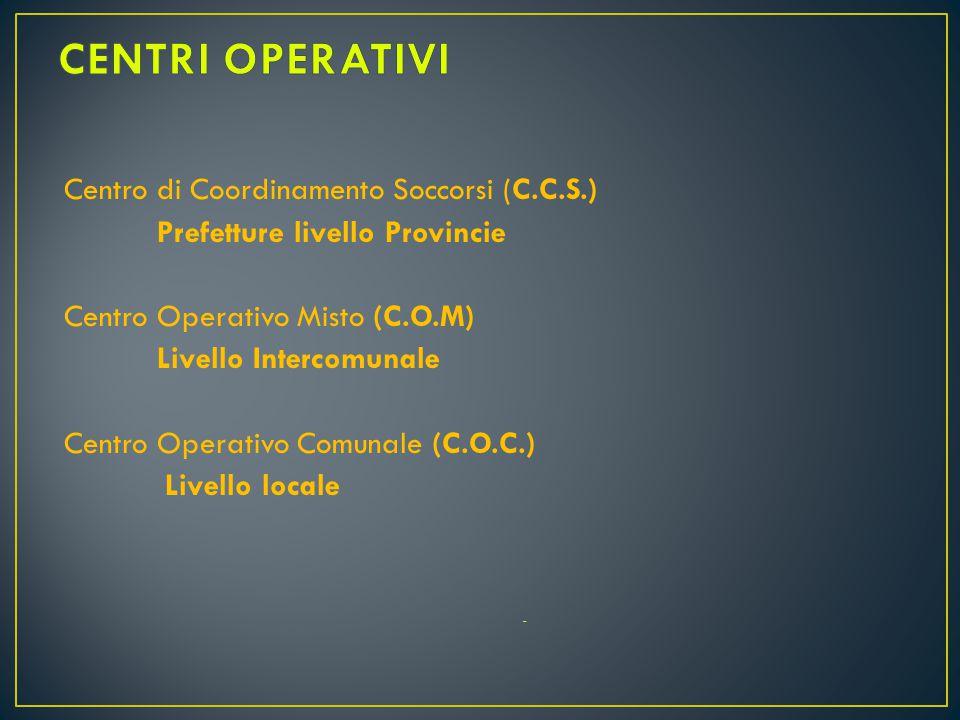 CENTRI OPERATIVI Centro di Coordinamento Soccorsi (C.C.S.)
