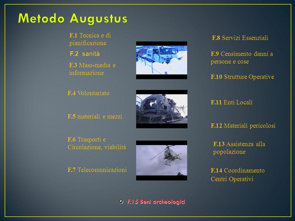 Metodo Augustus F.1 Tecnica e di pianificazione F.8 Servizi Essenziali
