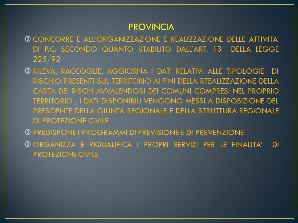 PROVINCIA CONCORRE E ALL'ORGANIZZAZIONE E REALIZZAZIONE DELLE ATTIVITA' DI P.C. SECONDO QUANTO STABILITO DALL'ART. 13 DELLA LEGGE 225/92.
