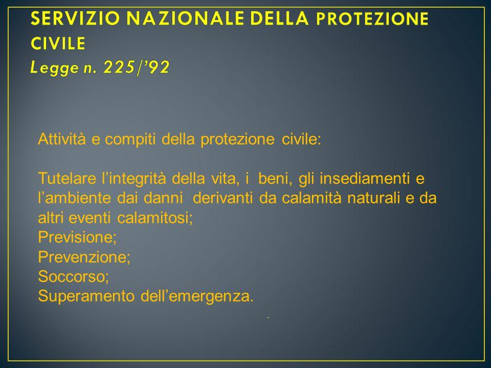 SERVIZIO NAZIONALE DELLA PROTEZIONE CIVILE Legge n. 225/'92