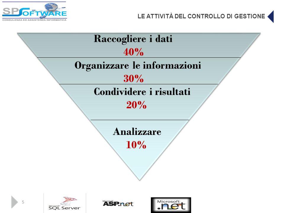 Organizzare le informazioni 30% Condividere i risultati 20% Analizzare