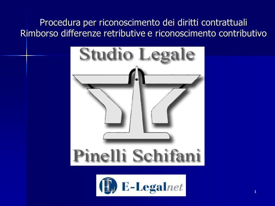 Procedura per riconoscimento dei diritti contrattuali Rimborso differenze retributive e riconoscimento contributivo
